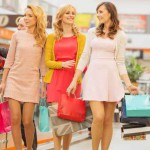 Group of girlfriends at the shopping